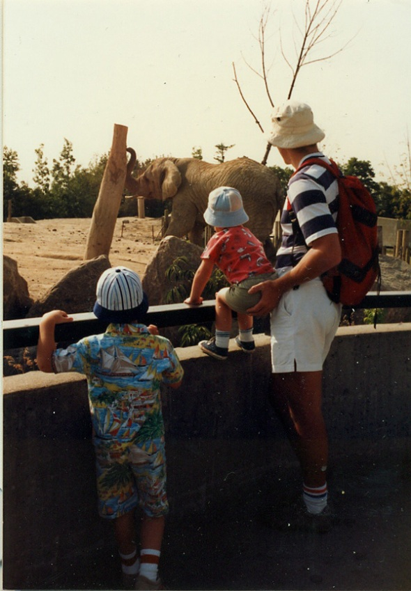 My father, helping me to see an elephant