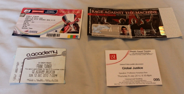 four tickets stubs